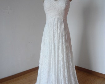 Lace-up Back Sweetheart Ivory Lace Long Bridesmaid Dress, Cheap Ivory Lace Long Wedding Dress