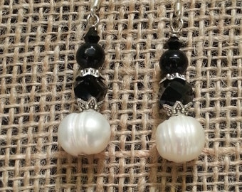 White Fresh Water Pearls with Black Beaded Earrings