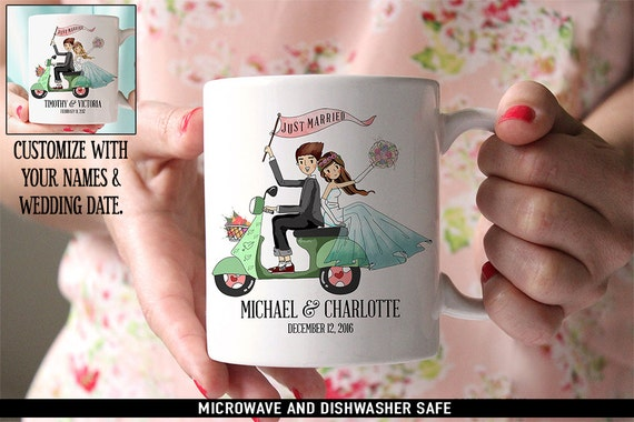 Personalized Just Married Coffee Mugs - Couple on Scooter - Customize with Names and Wedding Date - Makes a great wedding gift
