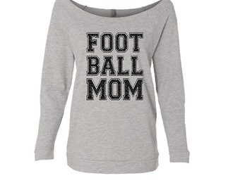 Football Mom Shirt. Football Mom. Custom Football Shirt. Off Shoulder Shirt. Off Shoulder Shirt. Wideneck 3/4 sleeve Shirt.