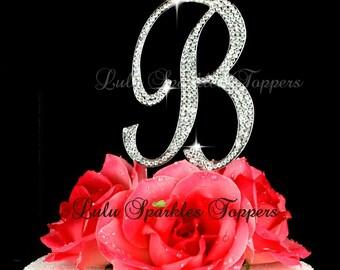 Large Monogram Letter B script Cake Topper in rhinestones wedding cake topper birthday Bling cake topper