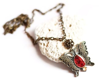 Red necklace Butterfly pendant Resin jewelry Bronze butterfly Red glitter jewelry Butterfly necklace Romantic jewelry gift Sparkle insect