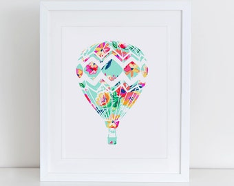 Hot Air Balloon Art Print, Balloon Nursery Art Print, Instant Download, Nursery Art Print, Nursery Wall Decor, Balloon Print