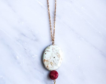 White and Burgundy Bead Pendant Necklace with Gold Dagger