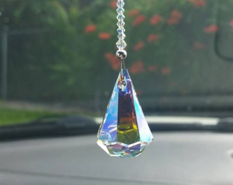 Crystal raindrop, swarovski suncatcher,  crystal car charm, rear view mirror,  window decoration,  hanging crystal,  suncatcher for car