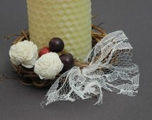 Fall candle ring with sola roses and berries (pair)