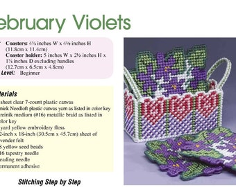 February Violets Coaster Set Pattern in Plastic Canvas