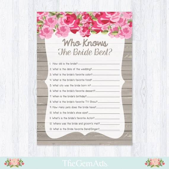 Bridal Shower Game Who Know The Bride Best How Well By