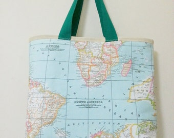 World Map Printed Large Tote Bag, Handmade, Canvas, Cotton, Mint, Shoulder Bag, Daily, Travel, Weekender, Women, Girl, Teen, Beach, School