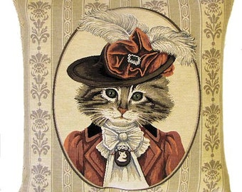 Cat Pillow - Cat Pillow Cover - Cat Lover Gift - Dressed Victorian Cat - Cat Pillow Case - Cat Portrait