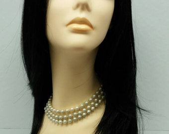 Long 21 inch Straight Off Black Darkest Brown Lace Front Wig with Premium Heat Resistant Fiber. [46-246-Lina-1B]