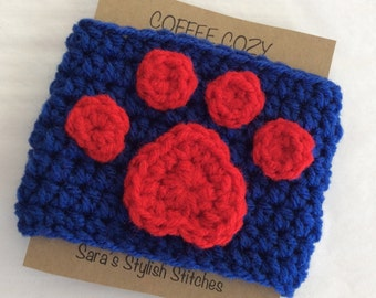 Paw print crochet cozy, paw print coffee cozy/sleeve, cup cozy, teacher gift, school colors, animal lover