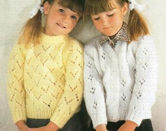 "Child's Knitting Pattern - Lacy Sweater and Cardigan - 22 - 30"" - Chunky yarn"