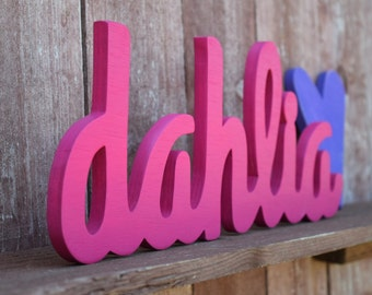 Baby Name Wood Sign - Nursery Decor - Baby name displays, wooden letters, cursive name signs