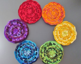 Custom-Shaped Rainbow Discs Wall Hanging - YOU CHOOSE the Arrangement! - Made with 6 Colorful Multi-Texture Coiled Jute Fiber Discs