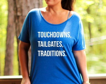 Touchdowns Tailgates Traditions Tee, Sizes L-3X, Plus Size graphic tee, Plus size tee, football tee, gameday tee