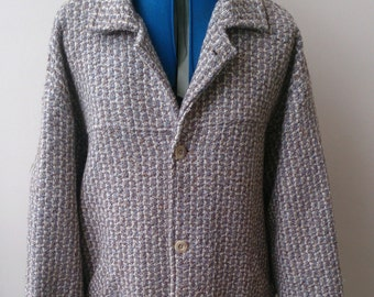Large wool weave winter coat by designer brand from the 1970s Northern Soul scene - Roxy Threads.  Unisex.