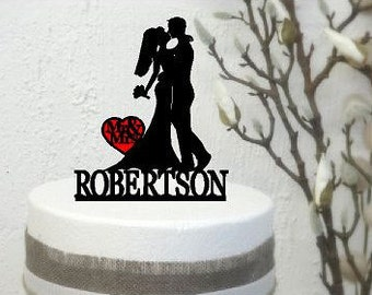 Personalised Acrylic Wedding Cake topper Bride & Groom Shiloutte Australian made