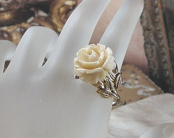 White Rose Sterling Silver Ring, Signed Napier   Mid Century Carved Flower Ring