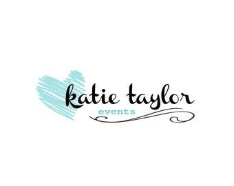 Events Premade logo design, heart logo, modern logo, blogger logo