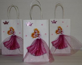 INSPIRED 12pc Disney Aurora Sleeping beauty Birthday Party Favor Goody Gift 3D Bags hand made with real picture