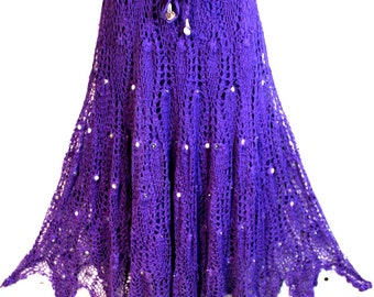 Artsy New Hand Made Crochet Beaded Skirt Lined. Fits Small to 1XL