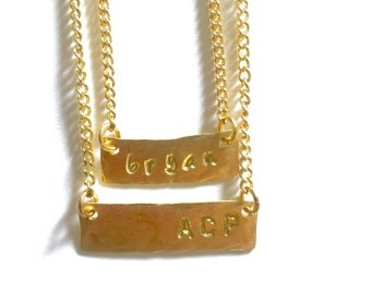 One Stamped Brass Bar Necklace