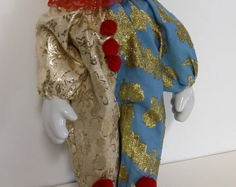 Large Vintage Porcelain Clown Red Nose Toy Display Stands Up Unsupported
