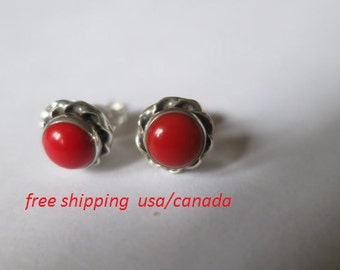 Red coral silver stud earrings, 92.5 sterling silver