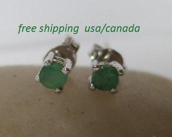 Silver emerald  stud earrings,  92.5 sterling silver