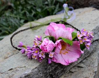 Flower Headband jewelry Crown - Flower hair - Wedding Crown - Cold Porcelain Crown - Wild rose Crown