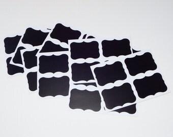 Mini Chalkboard Labels, 18, 36, 54 Or 72 Fancy Frame Vinyl Chalkboard Stickers, Mason Jar Labels, Wedding Labels, Storage Bin Labels