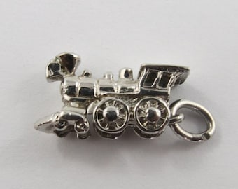 Old Fashioned Locomotive Sterling Silver Vintage Charm For Bracelet