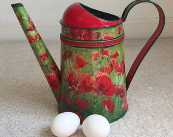 Watering Can, Water Can, Hand Painted Can, Garden Watering Can, Garden Tools - POPPIES