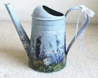 Vintage Watering Can, Garden Supplies, Painted Water Can, Water Can, Vintage Vase - Wedding MAGIC GARDEN