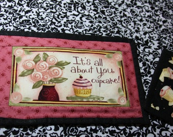 It's All About You Cupcake Quilted  MugRug Placemat Cup Mat Snack Mat