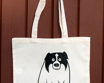 dog tote bag - border collie tote bag - black and white dog tote bag - guilty dog tote bag - fat border collie