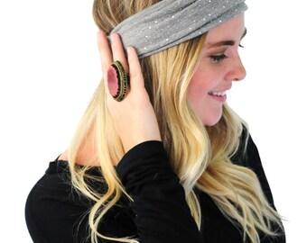 Boho Head Wrap, Hair Band, Fashion Headband, Headband in Heather Grey With Silver Rhinestones By Simply Martha