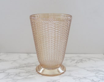 Vintage Large Basket Weave Pattern Iridescent Yellow Glass
