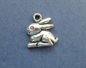 10 Bunny Charms - Bunny Pendants - Rabbit Charms - Bunny with Carrot - Animal Charms - Antique Silver - 15mm x 13mm  -- (H8-10396)