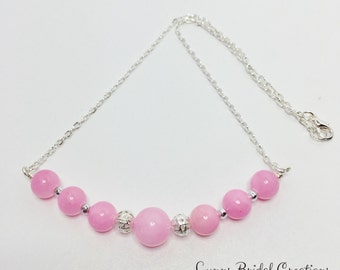 Pink Coral Necklace Bridesmaid Necklace Rose Pink Jewelry Wedding Jewellery Mother of the Bride Gift Pink Wedding Necklace Bridesmaid Gift