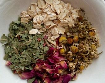 Herbal Bath Tea Bags, Bath Tea, Oatmeal Soak, Bath Soak, Rose, Chamomile, Eucalyptus, Three Large Tea Bags, 2 ounces each, Vegan
