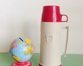 Vintage Red and White King Seeley Thermos