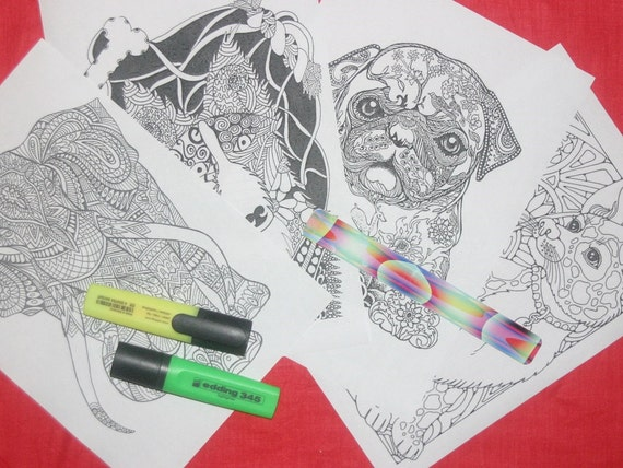 Zentangle and doodling 4 pages A4, Printable Jpeg, Coloring book, Mandala, mandalas. Instant Download. Part 5.