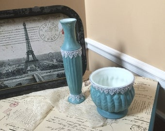 Shabby Chic Vase with Lace,Vintage Blue,Chalk Paint,Lace , Gifts,Gift for her