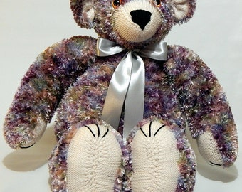 BABY'S FIRST BEAR Large, hand knitted cuddly bear, knitted fluffy bear, hand knitted soft toy, hand knitted plushie, knitted snuggle bear