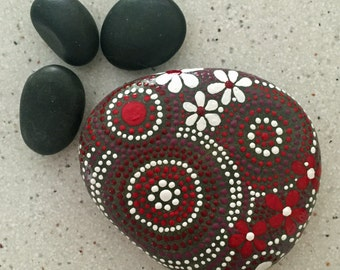 Painted Rock, Rock Art,  Mandala Rock Art, Hand Painted Stone, Nature Art, Garden Art, Hand Painted Rock, red touch collection #11