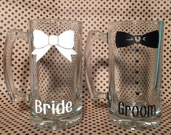 2 - 26.5 oz. Bride/Groom Bow Beer Steins, Bride and Groom bow tie beer mug, wedding stein, mr & mrs beer mug, Bride and Groom beer stein