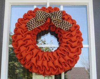 Halloween wreath- fall wreath - autumn wreath - orange burlap bubble wreath with black chevron burlap bow