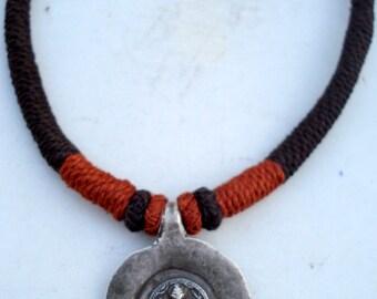 antique old silver god shiva amulet pendant necklace